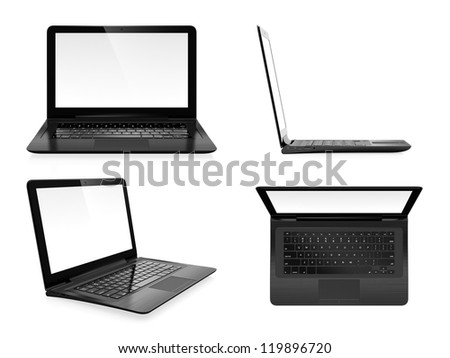 Image set of modern laptop in different angles - stock photo