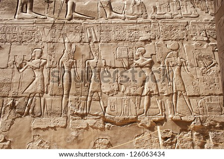 Image showing carvings at the temple of Karnak in Luxor, Egypt. - stock photo