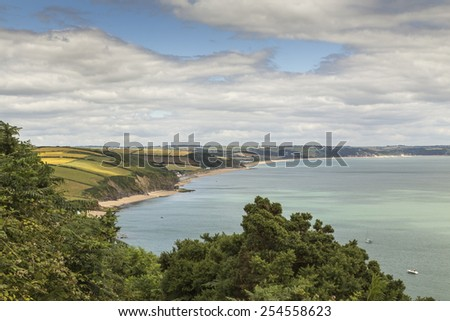 Image  showing the beautiful coastline at Beesands, Devon, England.