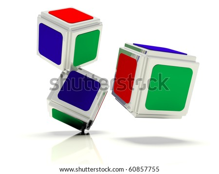 Image shown the  abstract dice with the faces of green red and blue colors