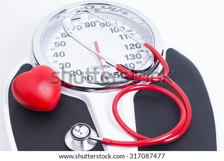 Image shows an analog bathroom scales with a stethoscope. Bathroom Scales Stock Photos  Royalty Free Images  amp  Vectors