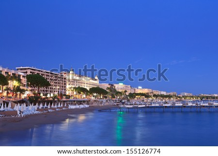 image shows the cosmopolitan city of Cannes, in the French Riviera - stock photo