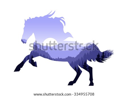 Image silhouette of horse with mountain landscape. Blue tones.