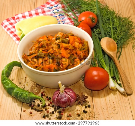 image vegetable stew in a bowl on a wooden table