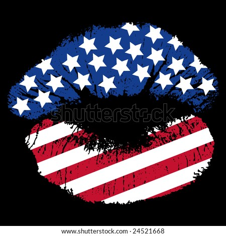 Image version of a patriotic smooch, lip print with stars and stripes - stock photo