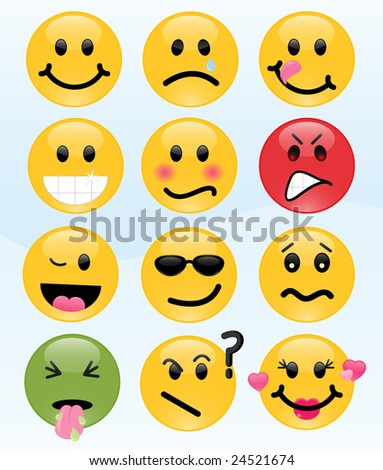Image version of twelve smileys, each with its own facial expression - stock photo