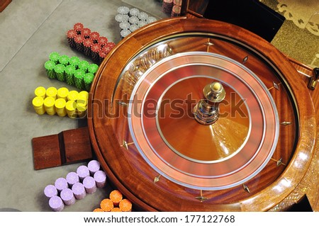 image with a casino spinning roulette wheel with the ball  - stock photo