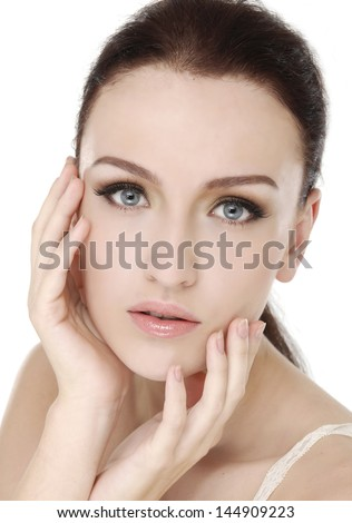 Image with beautiful fresh skin girl close-up