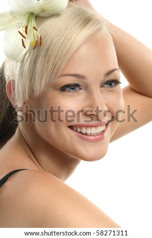 Image with beautiful smiling blonde girl on white background close-up - stock photo