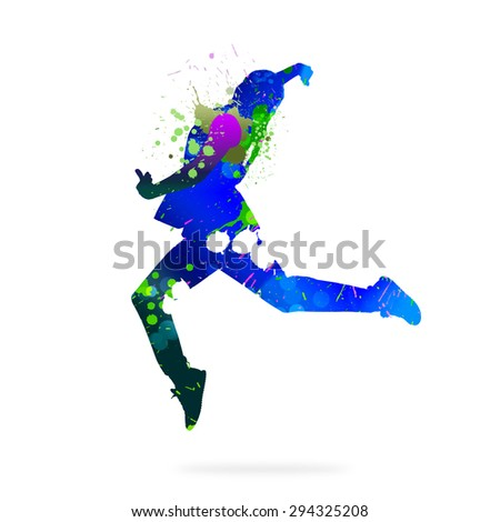 Image with color silhouette of dancer on white background - stock photo