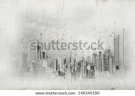 Image with hand drawings of construction project - stock photo