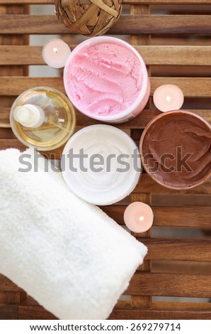 Image with spa creams and moisturizer - stock photo