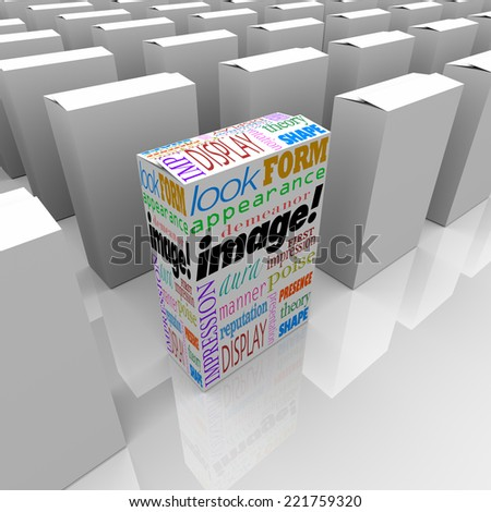 Image words on a product or package box standing out as a competitive advantage on store shelf with many competitors - stock photo