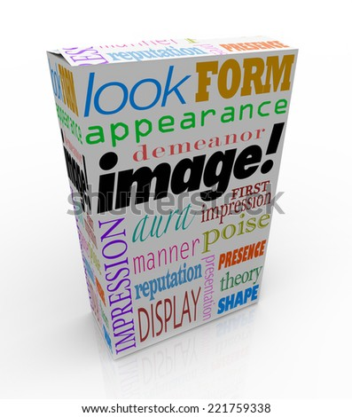 Image words on a product or package box to illustrate the importance of making a good first impression or appearance - stock photo