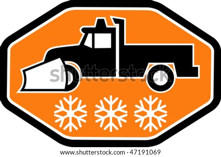 Imagery shows a Snow plow truck with snowflake in background inside hexagon
