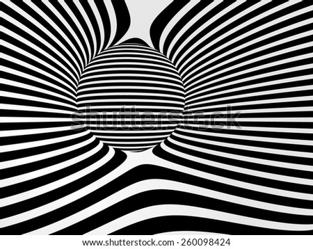 Images in the style of optical illusions - Op art. Black and white background. - stock photo