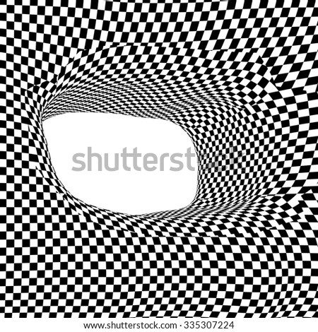 Images in the style of optical visual illusions - Op art. Background black and white illustration. Square design pattern in abstract window. - stock photo
