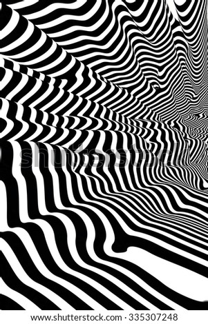 Images in the style of optical visual illusions - Op art. Background black and white illustration. Strips gently flowing abstract on the walls. - stock photo