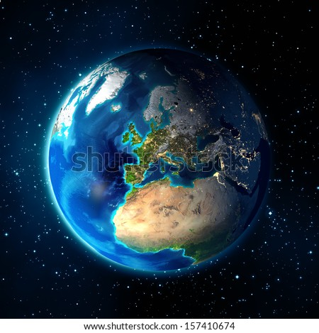 Images NASA - focus on Europe - earth in the hands   - stock photo
