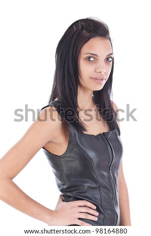 Images of an amazing girl in black leather on a white background - stock photo