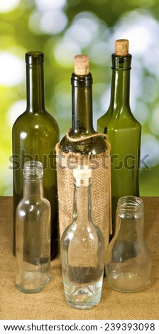 Images of bottles closeup