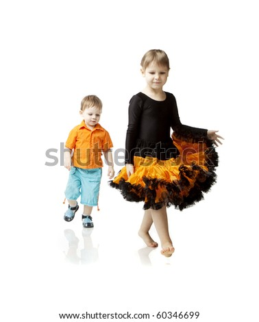 Images of children running on a white background - stock photo