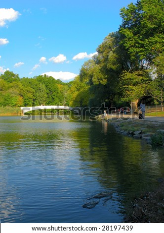 Images of Lake in Central Park by the early autumn in Manhattan, New York - stock photo
