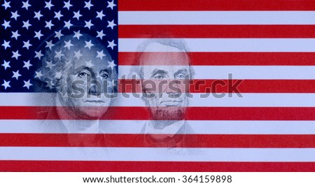 Images of Presidents George Washington and Abraham Lincoln from US currency are floated above background paper print out of American Flag for Presidents Day in the USA in February with copy space