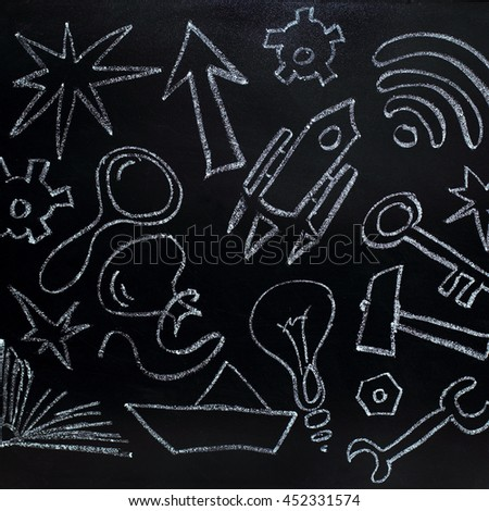 images of various subjects chalk on black chalkboard / ideas for business start