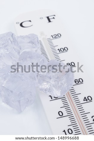Images shows some ice cubes and a thermometer