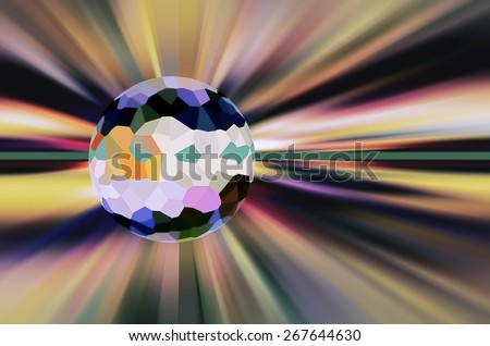 Imaginary abstract of a crystallized planet hiding the source of a multicolored starburst, for illustration of futuristic or metaphysical themes