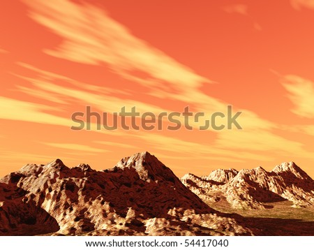 Imaginary orange sky over rocky terrain could be Mars landscape. - stock photo