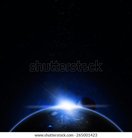 imaginary solar eclipse deep space blue background