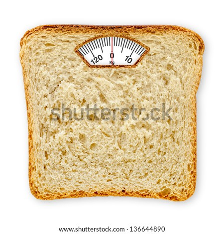 Imaginary weighing scales made of bread slice isolated on white background. Diet concept to promote healthy eating and weight management. - stock photo