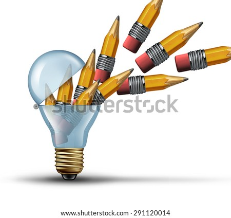 Imagination and creativity concept as an open light bulb or lightbulb symbol for out of the box thinking with a group of pencils being released from within as creative network marketing.