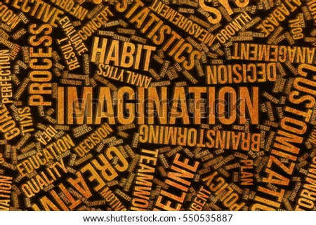 Imagination, business conceptual word cloud for for design wallpaper, texture or background, grunge & rough