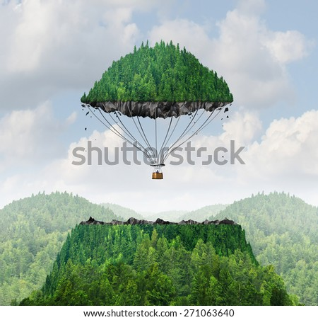 Imagination concept as a person lifting off with a detached top of a mountain floating up to the sky as a hot air balloon metaphor for the power of imagining and dreaming of moving mountains. - stock photo