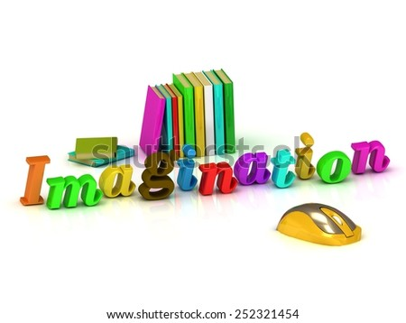 imagination inscription bright volume letter and textbooks and computer mouse on white background - stock photo