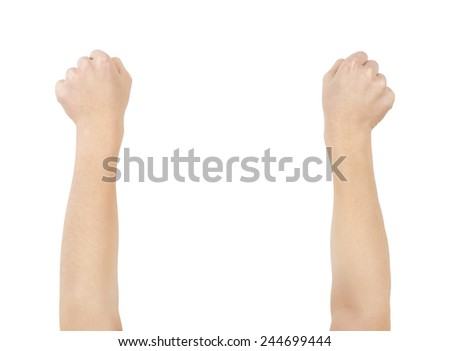 Imaginative bending out using two arms, clipping path, isolated - stock photo