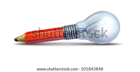 Imagine and create concept for design and innovation as a creative ideas icon with a red pencil and a lightbulb on the floor combined together as an icon of creativity for a new business. - stock photo
