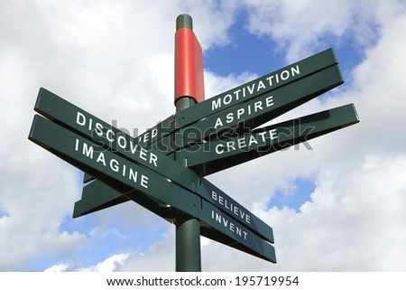 Imagine and created Signpost against cloudy sky - clipping path for isolated the panels - stock photo