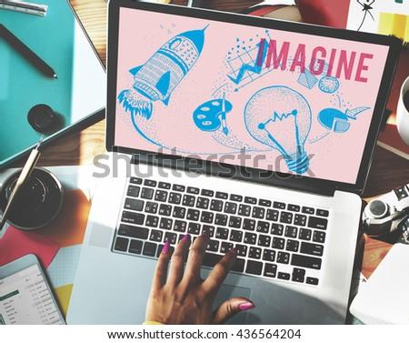 Imagine Ideas Creativity Imagination Light Bulb Concept - stock photo
