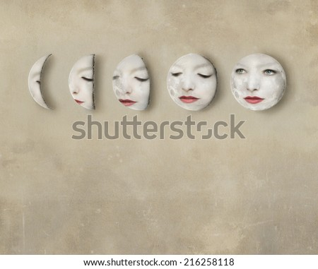 Imagine of a lunar phases with a woman's face inside the moons - stock photo