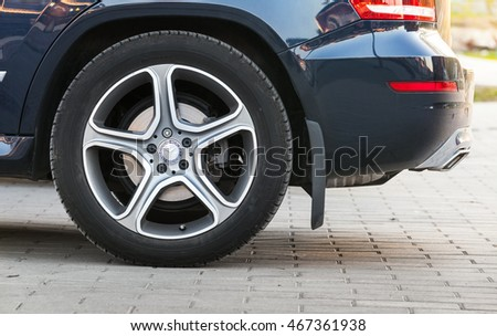 Imatra, Finland - June 25, 2016: Closeup photo of car wheel with Mercedes Benz logotype on Continental tyre
