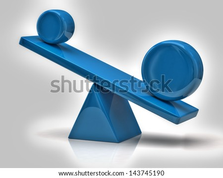 Imbalance concept. Blue scales - stock photo