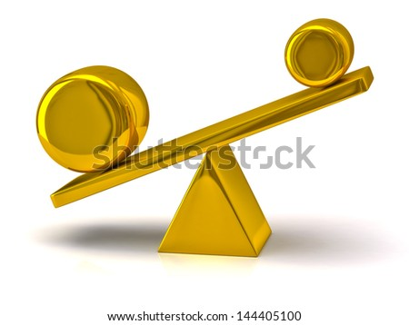 Imbalance concept. Golden scales. - stock photo
