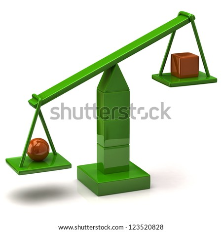 Imbalance concept. Green scales. - stock photo