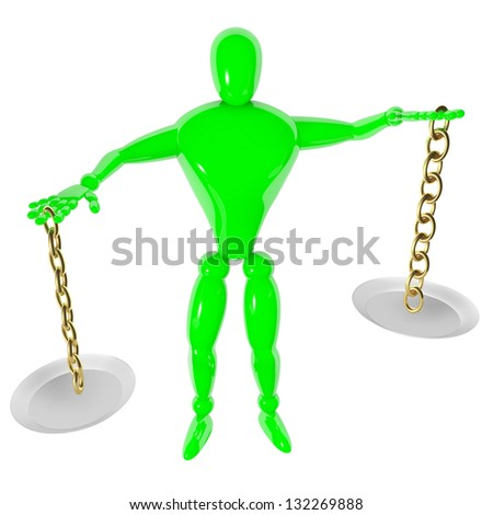 Imbalance isolated 3d human with scale - stock photo