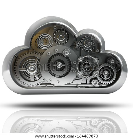 imetallic cloud with gears isolated on white background High resolution 3d  - stock photo