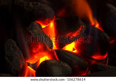 Imitation coal fire, powered by gas supply - stock photo